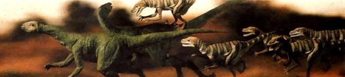 Группа плотоядных динозавров (дромеозавров) преследует травоядного (тесцелозавра).
