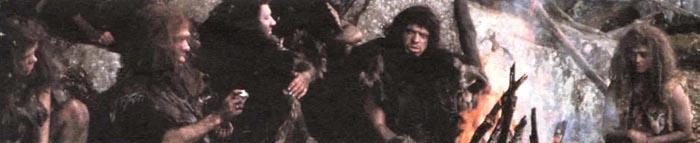 """Сцена из фильма """"Борьба за огонь"""", представляющая группу охотников Homo erectus."""