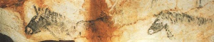 Рисунок с изображением двух доисторических лошадей