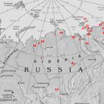 Карта находок костей мамонтов в Северо-Восточной Сибири